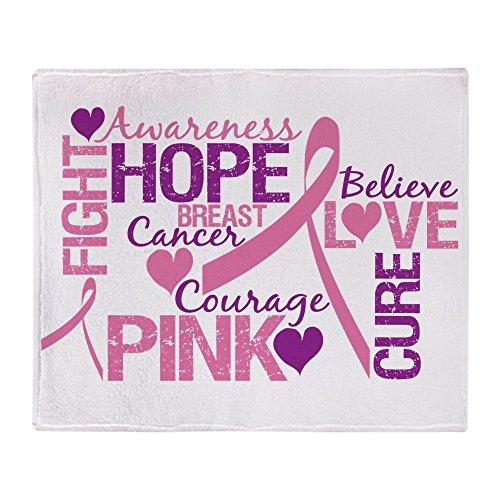 CafePress - Breast Cancer Words - Weiche Fleece-Überwurfdecke, 127 x 152 cm Stadion-Decke 50x60 weiß Breast Cancer Fleece