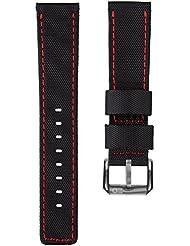 Bracelet de montre remplacement plongée nylon imperméable par ZULUDIVER, Noir et Rouge, 22mm