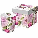 Paperproducts Design Tasse aus feinem Porzellan, groß, in Geschenkverpackung, Pink Vintage Rose, 348 ml, mehrfarbig