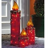 3-teiliges Set LED Dekoleuchten Maxikerzen Outdoorgeeignet rot