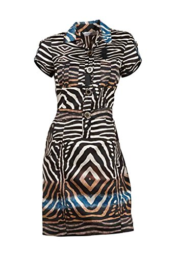 Rick Cardona Damen-Kleid Hemdblusenkleid Mehrfarbig Braun-Bunt