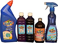 Right Choice Toilet Cleaner Liquid, 1L and Right Choice Fabric Wash Liquid, 500 ml and Right Choice Liquid Blue(Neel) Liquid, 500 ml and Right Choice Floor Cleaner Germs Kill (Black Fluid) Liquid 450 ml and Right Choice Glass Cleaner Liquid, 500 ml (Combo of 5)