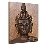 Bilderdepot24 Kunstdruck - Buddha - Bild auf Leinwand - 60 x 80 cm - Leinwandbilder - Bilder als Leinwanddruck - Wandbild Geist und Seele - Zen Buddhismus