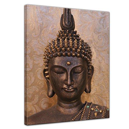 Kunstdruck - Buddha - Bild auf Leinwand - 30 x 40 cm - Leinwandbilder - Bilder als Leinwanddruck - Geist und Seele - Zen Buddhismus