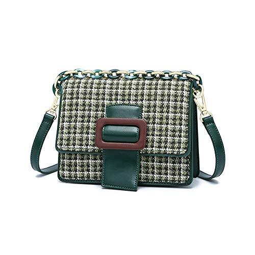 Jiudou Bag weiblichen Wilden Plaid Schulter kleine quadratische Tasche Modetrend Wolle Umhängetasche - Wild Plaid