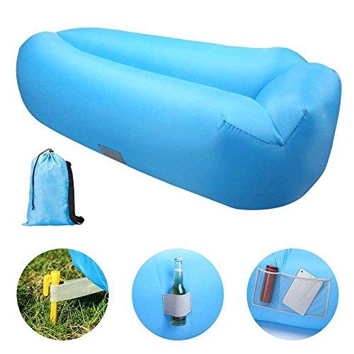 KAIDILA Aufblasbare Liege, Luft Sofa Lazy Carry Tragbare Wasserdichte  Schlafsack Ultraleichtes Bett Mit Kissen Pool