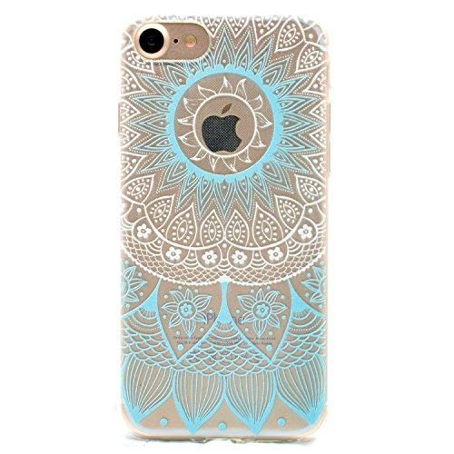 iphone 6 marmor hülle, LuckyW TPU Handyhülle für Apple iPhone 6 6s(4.7 zoll) Soft Silikon Tasche Transparent Schale Clear Klar Hanytasche Durchsichtig Rückschale Ultra Slim Thin Dünne Schutzhülle Weic Blau indische Sonne