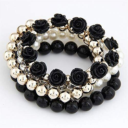 Eleusine Damen Armband Böhmische Rose Blume Multilayer Perlen Armreif Für Frauen Mädchen,Schwarz -
