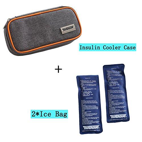 Bolsa térmica de insulina portátil, con aislante y estuche para refrigerador médico de viaje + 2 paquetes de hielo, bolsa de refrigeración médica, organizador diabético de tela Oxford 8.27*3.94*1.77 inches naranja