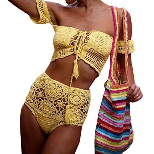 Bikini Damen Set LHWY Böhmische Frauen Vintage Retro Handgemachte Gestrickte Trägerlosen Bikini Set High Waist Badehose Bademode BH Badeanzug Strand Schwarz Weiß Gelb (S, Gelb)