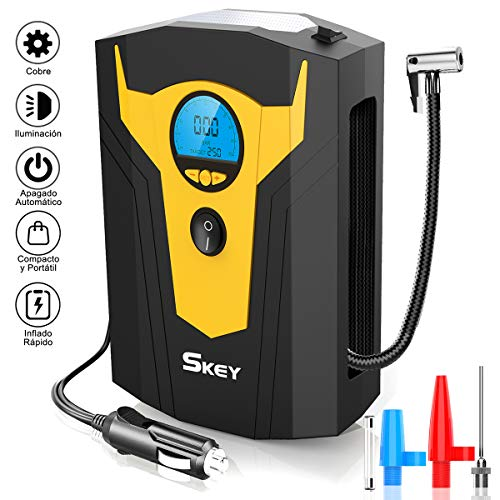 SKEY Compresor de Aire Coche Portatil Bomba Inflador 12v con LED Pantalla Digital LCD para Hinchar Neumáticos de Moto Coche y Bicicleta