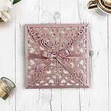 Lasergeschnittene Hochzeit Einladungskarten (Probe - Sample) - Rosa Spitze - Hochzeitskarten, DIY Einladung