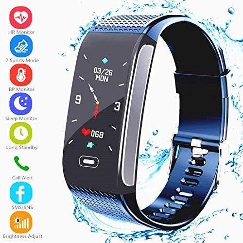 Smart Armband, Fitness Tracker Aktivitätstracker mit Pulsmesser Schrittzähler Uhr Farbbildschirm Wasserdicht IP67 Anruf SMS SNS Erinnern Kompatibel mit Android IOS für Männer Frauen Kinder