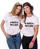 Best Friends T-Shirts für 2 Mädchen Bitch Aufdruck – Sommer Oberteile Set für Zwei Damen – Beste Freunde Tops Sister BFF Geburtstagsgeschenk (Weiß + Weiß, Left-S + Right-S)