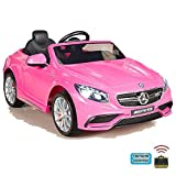 simron Mercedes-Benz S63 AMG Cabriolet Ride-On 12V Elektro Kinderauto Kinderfahrzeug Kinder Elektroauto (Rosa)