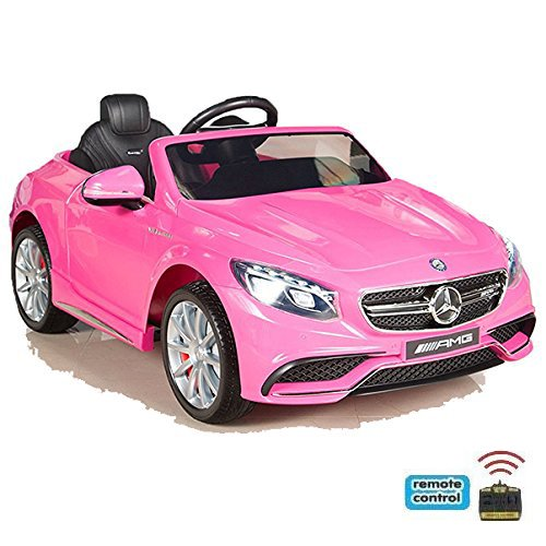 simron Mercedes-Benz S63 AMG Cabriolet Ride-On 12V Elektro Kinderauto Kinderfahrzeug Kinder Elektroauto (Rosa) (Remote Benzin Auto 4x4 Control)