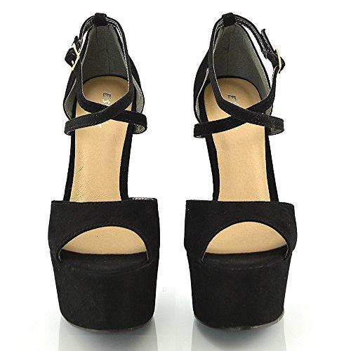 ESSEX GLAM Sandalo Donna Peep Toe con Lacci Plateau Tacco a Spillo Alto Nero Finto Scamosciato