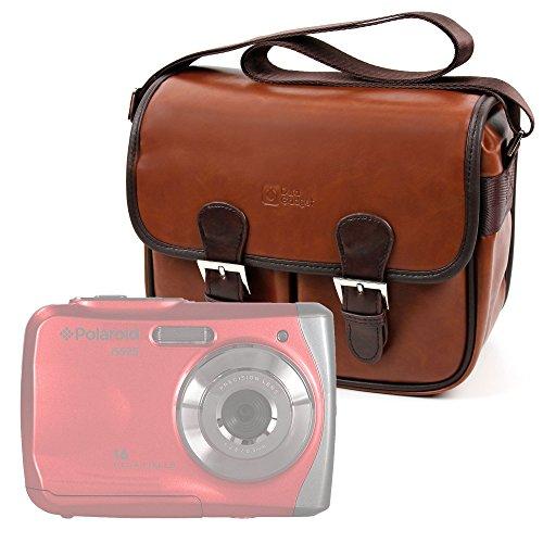 DURAGADGET Bolsa Profesional para cámara Polaroid IS525, IX6038, IX828, Izone iE877, Snap Touch | Express Panda SLR HD 720P Marrón, con Compartimentos
