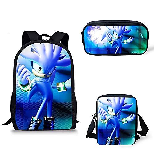16 inch Schulrucksäcke Igel Sonic Drucken Kinder Tagesrucksack mit Umhängetasche und Bleistiftbeutel für 6-16 Jahre alt Mädchen Jungs,D