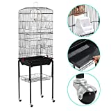 Popamazing Large Metal Bird Cage with Perch Stand and Wheels for Budgerigars,Cockatiels,Monk Parakeets,Golden Parakeets,Pet,ect