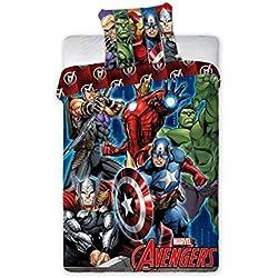 Avengers Super Heros–Juego 100% algodón ropa de cama reversible de funda nórdica de 140x 200+ funda de almohada 70x 90