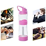 Iusun Outdoor Water Lighting Bottle, 500mL BPA Portable Water Bottle Cup Free Leakproof Sports Travel Lighting Bottle (Pink)