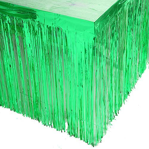 Egurs 9ft. x 29 Zoll Metallfolie Fringe Table Rock Lametta Party Table Rock grün grün