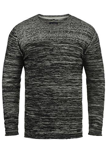 Blend Lino Herren Strickpullover Feinstrick Pullover mit Rundhalsausschnitt aus 100% Baumwolle, Größe:L, Farbe:Black (70155) - Gerippt Wolle Blend