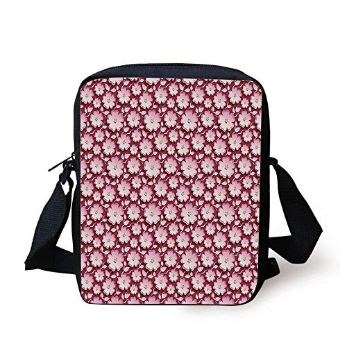 LULABE Asian,Abstract Romantic Floral Arrangement 3D Style Japanese Cherry Tree Flowers Decorative,Pink Yellow Maroon Print Kids Crossbody Messenger Bag Purse - Cherry Flower Stand