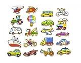 Unbekannt Magnetische Fahrzeuge aus Holz / farbig bedruckte Holzteile mit magnetischer Rückseite / für Kinder ab 18 Monaten