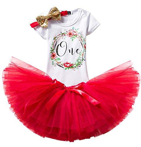TTYAOVO Mädchen Rock Neugeborenen 3er Babys 1 Geburtstag Set/Outfits mit Romper + Tutu Kleid + Stirnband Größe 1 Jahre Rot
