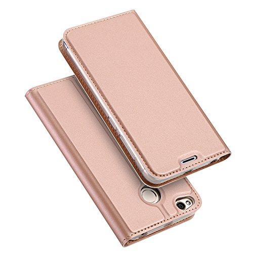Xiaomi RedMi 4X Funda, SMTR Ultra Silm PU Cuero Flip, Leather Wallet Case Cover Carcasa Funda con Ranura de Tarjeta Cierre Magnético y función de soporte para Xiaomi RedMi 4X, Oro rosa
