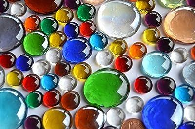 176g bunte Glasnuggets in 3 versch. Größen 1-3 cm Deko Mosaiksteine ca.66 St.