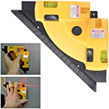 XCSOURCE 90 Degree Vertical Horizontal Laser Square Right Angle BI010 Line Projection (Yellow)