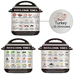 Aolvo Instant Pot Cheat Sheet Magnets (3 Packungen), Most Used Cooking Time Aluminiumfolie, Tag mit Textbeschreibung und Lebensmittelbildern für 45 gängige Getreide, Fleisch, Gemüse