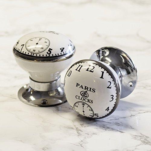 Pomelli Per Porte e Armadietti Vintage Shabby Chic In Ceramica Con Disegno Orologio Paris Clock