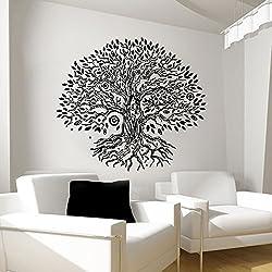 Árbol Pared Adhesivos Namaste vinilo adhesivo Yoga Studio gimnasio Decor Home ventana diseño Interior arte murales (mn264), vinilo, 48cmTall x 53cmWide