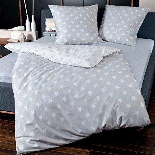 Janine Feinbiber Bettwäsche Davos 6466 Sterne silber - mit kleinen Fehlern, Größe:135x200 cm + 80x80 cm