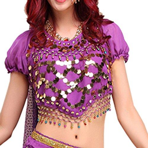 Best Dance-Danza del ventre costumi Lanterna Camicetta Top con paillettes perline Bells Purple Un formato misura la maggior parte