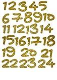 marinamalina Adventszahlen zum Aufbügeln Aufkleber Hotfix Bügelbild Textilaufkleber Glitterfolie adventskalender Zahlen bügelbild Glitzerfolie bunt 24 Stück