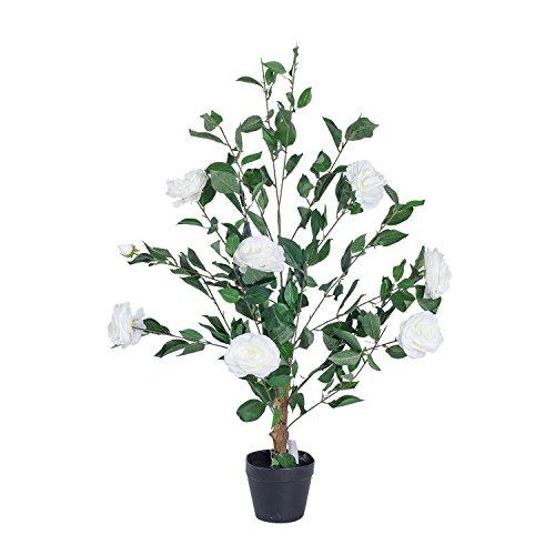 Homescapes Künstlicher Rosenbaum Baum cremefarbend 100 cm Hoch