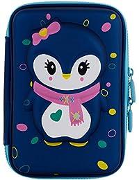 Ofsign Multipurpose Cute Owl Art Blue Pencil Pouch