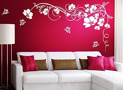Grandora Wandtattoo Blumenranke & Schmetterlinge I gelb (BxH) 190 x 104 cm I Wohnzimmer Schlafzimmer Sticker Aufkleber Wandaufkleber Wandsticker W829