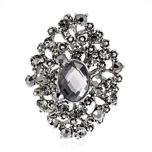 Olydmsky Mode hundert Runde Exquisite Strass Brosche Antik Silber Brosche Pin Schmuckstücke Beschichtung (Strass-brosche Runde)