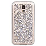 Pheant® Samsung Galaxy S5 Mini Hülle Glitzer Silikon Schutzhülle Transparent Bumper Handyhülle Glänzend Pailletten Design Silber