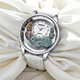 Time100 Muttertag Damen-Armbanduhr Diamant Shell Analog Quarzuhr Leder #W50080L.01A -