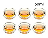 DSstyles Vasos de Vidrio con Pared Doble 50ml, Set de 6