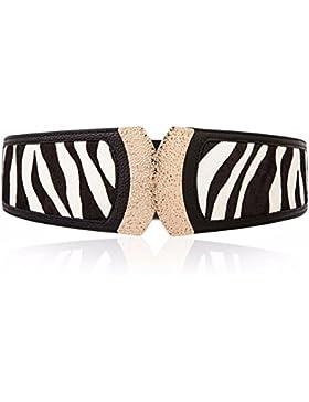 Leopard ancho cinturón de cuero de cintura decorativos moda mujer Correa de sello