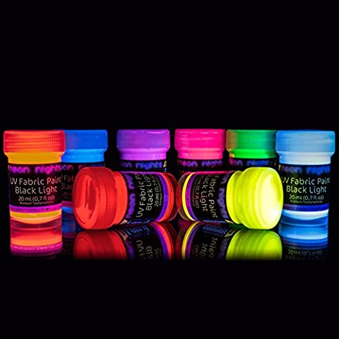 neon nights Ultraviolet | UV | Black Light | Fluorescent Glow Fabric Paint - Set of 8