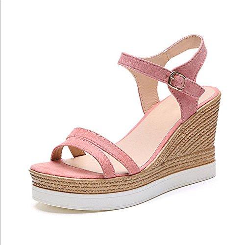 Sandalen für Damen Wort Stil Kreuzgurt mit schweren Boden Schuhen lässig offene Sandalen weibliche wilde 1